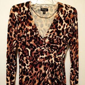 Thalia Sodi Leopard Print Mock Wrap